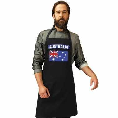 Australie vlag barbecuekookschort/ kookschort zwart volwassenen