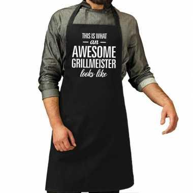 Awesome grillmeister cadeau barbecue kookschort zwart heren