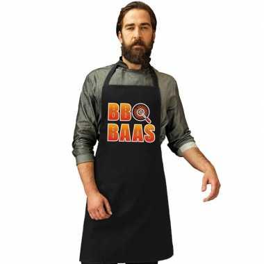 Barbecue baas barbecuekookschort/ kookschort zwart heren