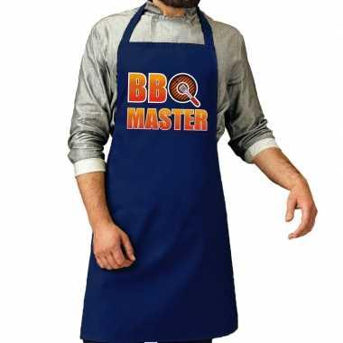 Barbecue master barbeque kookschort /kookschort kobalt blauw heren