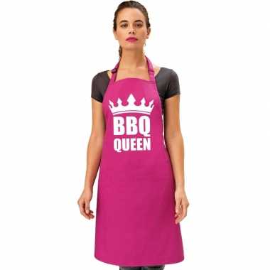 Barbecue queen barbecuekookschort/ kookschort roze dames