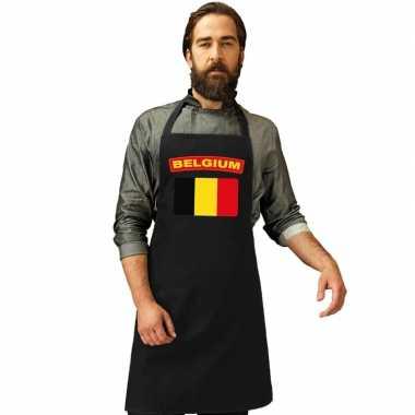 Belgie vlag barbecuekookschort/ kookschort zwart volwassenen