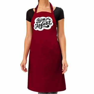 Bon appetit barbecuekookschort / kookschort rood dames