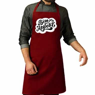 Bon appetit barbecuekookschort / kookschort rood heren