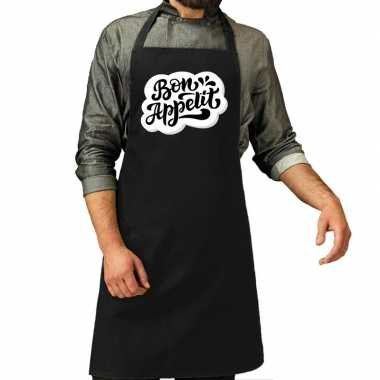 Bon appetit barbecuekookschort / kookschort zwart heren