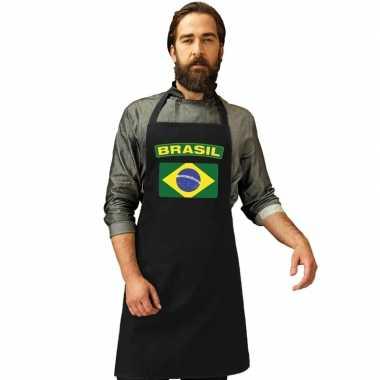 Brazilie vlag barbecuekookschort/ kookschort zwart volwassenen