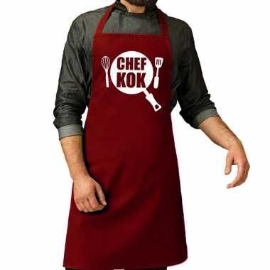 Chef kok barbeque kookschort / kookschort bordeaux rood heren