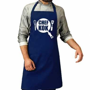 Chef kok barbeque kookschort / kookschort kobalt blauw her