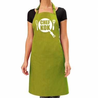 Chef kok barbeque kookschort / kookschort lime groen dames