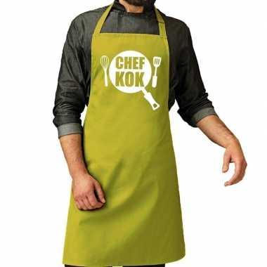 Chef kok barbeque kookschort / kookschort lime groen heren