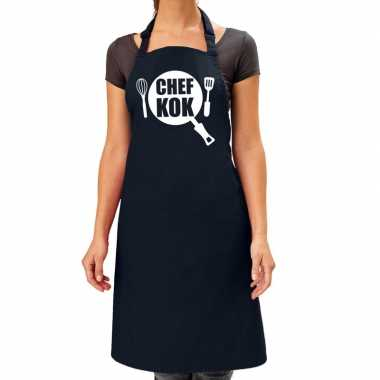Chef kok barbeque kookschort / kookschort navy blauw dames