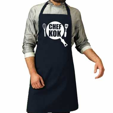 Chef kok barbeque kookschort / kookschort navy heren