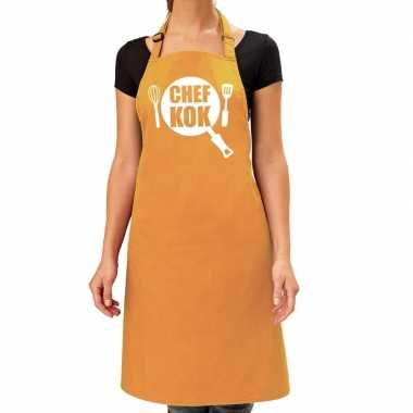 Chef kok barbeque kookschort / kookschort oker geel dames