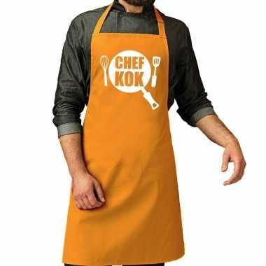 Chef kok barbeque kookschort / kookschort oker geel her