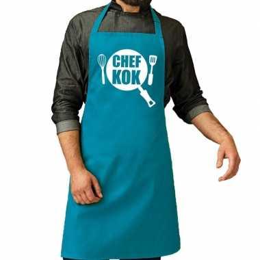 Chef kok barbeque kookschort / kookschort turquoise blauw her