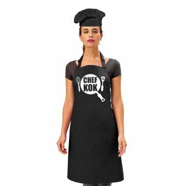 Chef kok kookschort zwart dames zwarte koksmuts