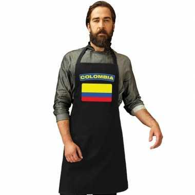 Colombia vlag barbecuekookschort/ kookschort zwart volwassenen
