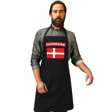 Denemarken vlag barbecuekookschort/ kookschort zwart volwassenen