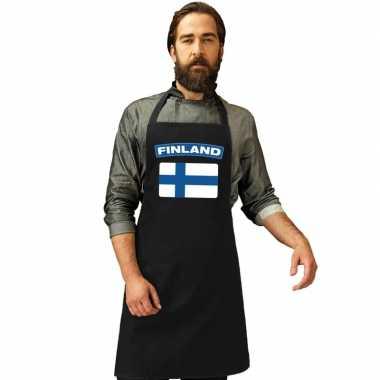 Finland vlag barbecuekookschort/ kookschort zwart volwassenen