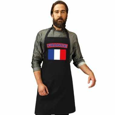 Frankrijk vlag barbecuekookschort/ kookschort zwart volwassenen