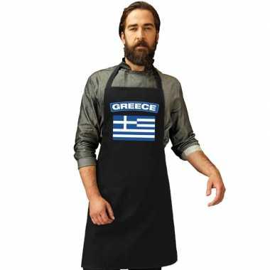 Griekenland vlag barbecuekookschort/ kookschort zwart volwassenen