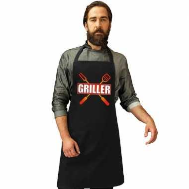 Griller barbecuekookschort/ kookschort zwart heren