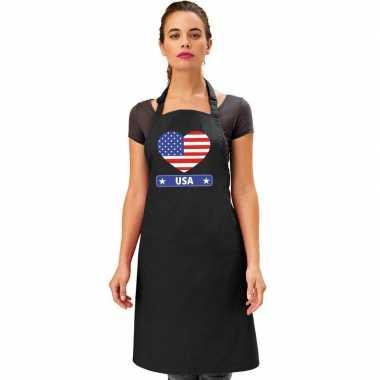 I love amerika kookschort/ barbecuekookschort zwart volwassenen