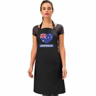 I love australie kookschort/ barbecuekookschort zwart volwassenen