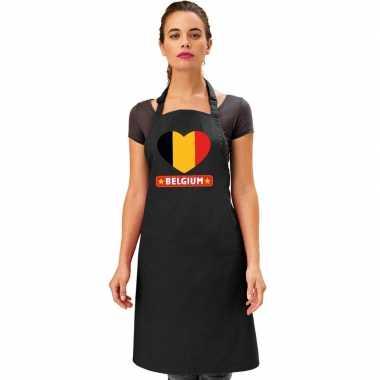 I love belgie kookschort/ barbecuekookschort zwart volwassenen