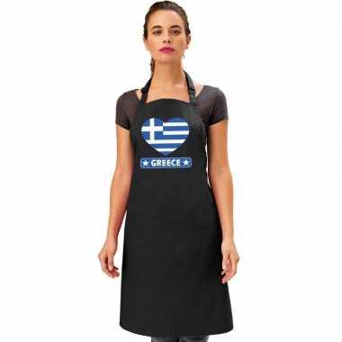 I love griekenland kookschort/ barbecuekookschort zwart volwassenen