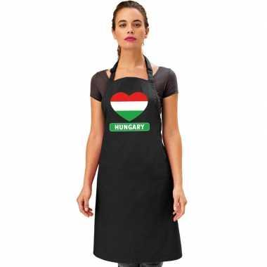 I love hongarije kookschort/ barbecuekookschort zwart volwassenen