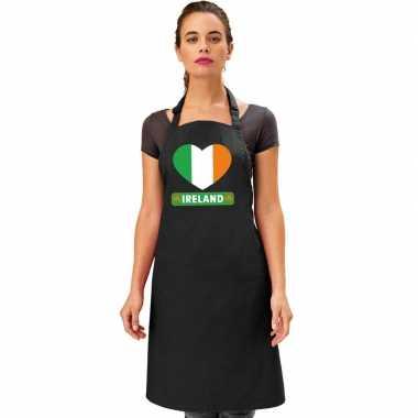 I love ierland kookschort/ barbecuekookschort zwart volwassenen