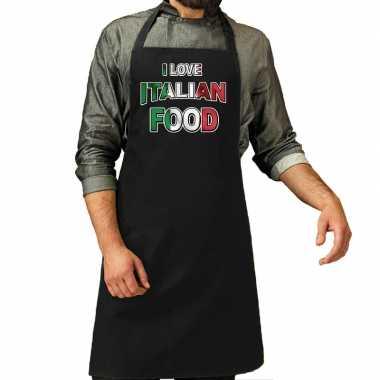 I love italian food barbecue/kookschort zwart heren