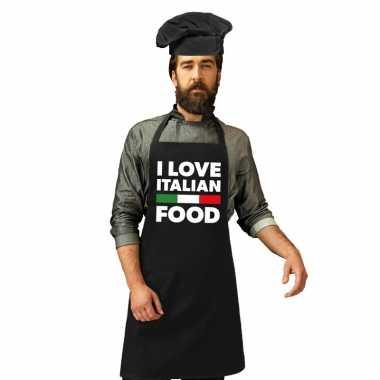 I love italian food kookschort koksmuts zwart heren