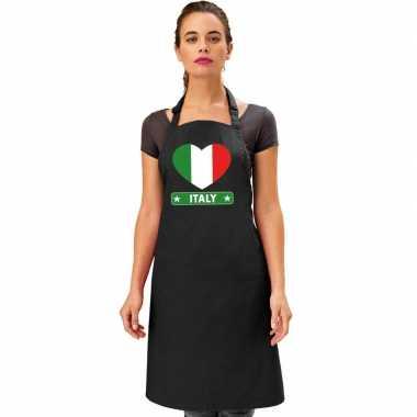 I love italie kookschort/ barbecuekookschort zwart volwassenen