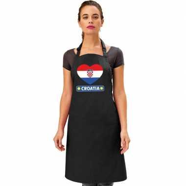 I love kroatie kookschort/ barbecuekookschort zwart volwassenen