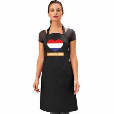 I love nederland kookschort/ barbecuekookschort zwart volwassenen