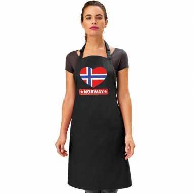 I love noorwegen kookschort/ barbecuekookschort zwart volwassenen