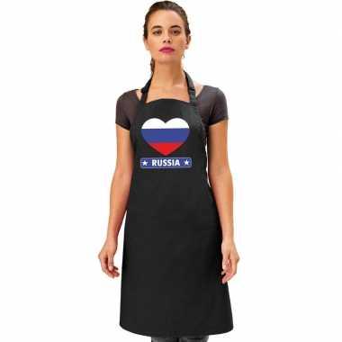 I love rusland kookschort/ barbecuekookschort zwart volwassenen