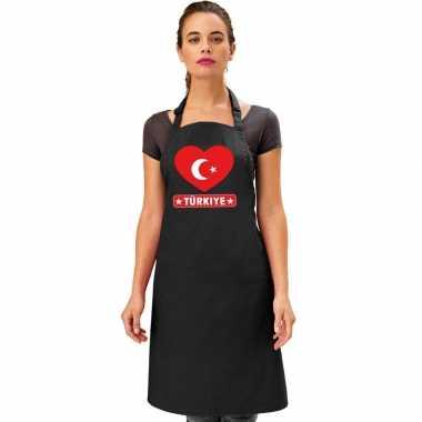I love turkije kookschort/ barbecuekookschort zwart volwassenen