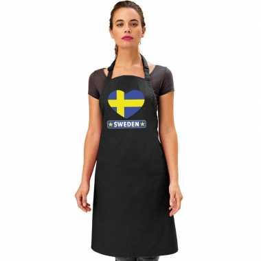 I love zweden kookschort/ barbecuekookschort zwart volwassenen