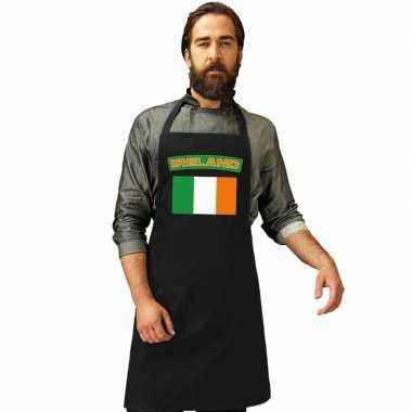 Ierland vlag barbecuekookschort/ kookschort zwart volwassenen