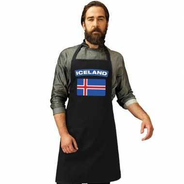 Ijsland vlag barbecuekookschort/ kookschort zwart volwassenen
