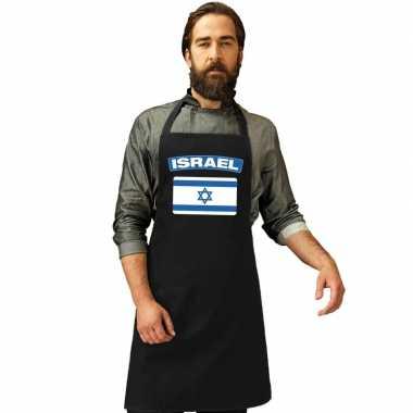 Israel vlag barbecuekookschort/ kookschort zwart volwassenen