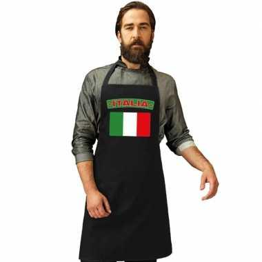 Italie vlag barbecuekookschort/ kookschort zwart volwassenen