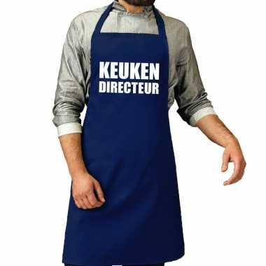 Kook directeur barbeque kookschort / kookschort kobalt blauw her