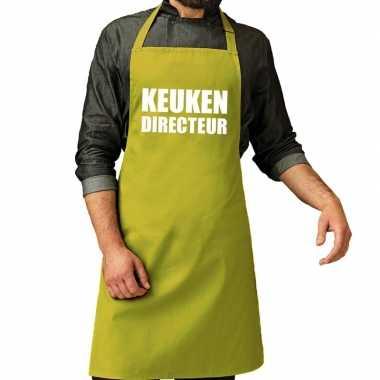 Kook directeur barbeque kookschort / kookschort lime groen heren