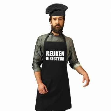 Kook directeur kookschort zwart heren zwarte koksmuts