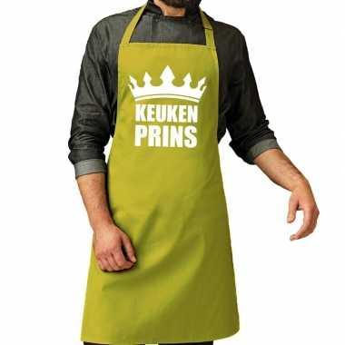 Kook prins barbeque kookschort / kookschort lime groen heren