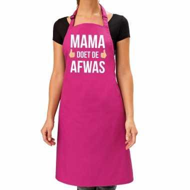 Mama doet afwas cadeau katoenen kookschort roze dames